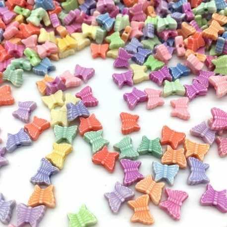 Pastel Butterfly Beads (100pcs)