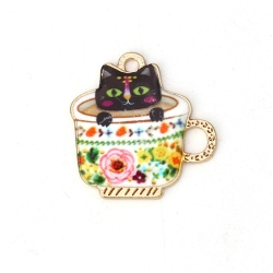 Metal Charms - Enamelled Cat in Teacup Pink (10)