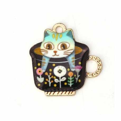 Enamel Charms - Cat in Teacup Pink (10)