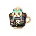 Enamel Charms - Cat in Teacup Green (10)