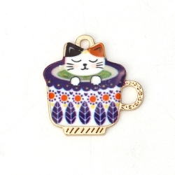 Metal Charms - Enamelled Cat in Teacup Blue (10)