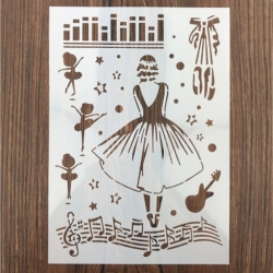 Large Plastic Stencil - Musical Ballerinas (1pc)