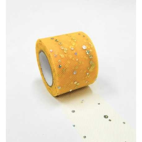 Tulle Ribbon Roll with Sequins - Yellow (5cm x 22m)