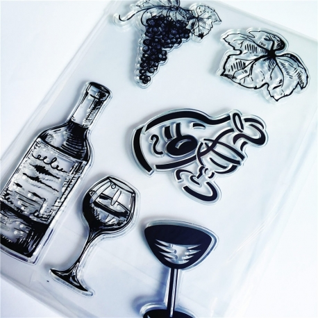 Clear Stamp set - Wine (6pcs)