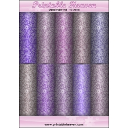 Download - Digital Paper Pad - Floral Shades Purple and Lilac