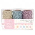 20m Bakers Twine (3pcs) - Spots & Stripes Pastels (PMA 171201)