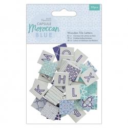 Wooden Tile Letters (50pcs) - Moroccan Blue (PMA 174599)