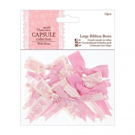 Large Ribbon Bows (12pcs) - Wild Rose (PMA 367116)