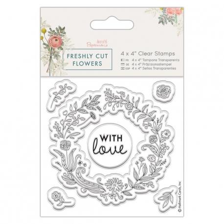 4 x 4 Clear Stamp - Freshly Cut Flowers, Floral Wreath (PMA