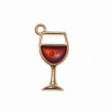 Metal Charms - Enamelled Wine Glasses (12)
