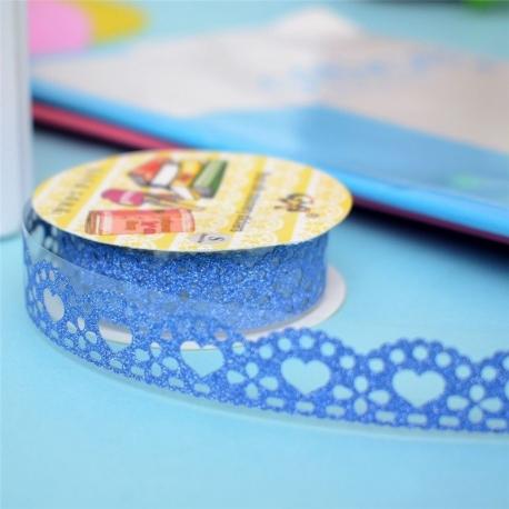 Self-adhesive Lace roll - Glitter Blue (14mm x 1m)