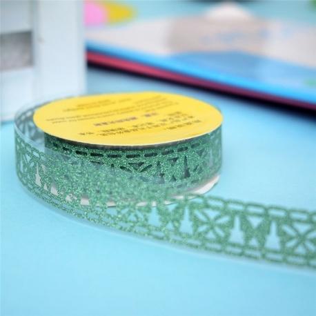 Self-adhesive Lace roll - Glitter Green (14mm x 1m)