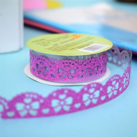 Self-adhesive Lace roll - Glitter Deep Pink (14mm x 1m)