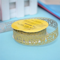 Self-adhesive Lace tape - Glitter Gold (14mm x 1m)