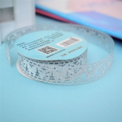 Self-adhesive Lace tape - Glitter Silver (14mm x 1m)