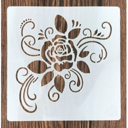 13 x 13cm Reusable Stencil - Rose Flourish (1pc)