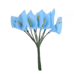 Foam Calla Lilies - Blue (Bunch of 12)