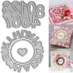 Printable Heaven dies - Happy Birthday Circle & Numbers, Small