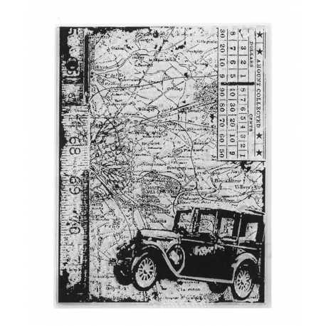 Clear Stamp - Vintage Car & Map (1pc)