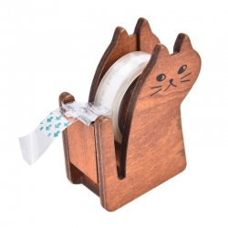 Wooden Cat Tape Dispenser - Natural