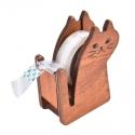 Wooden Cat Tape Dispenser - Natural