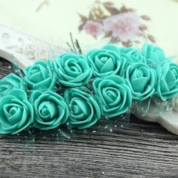 Foam Roses - Turquoise (Bunch of 12)