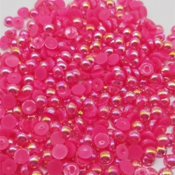 6mm Iridescent Half-beads - Cerise Pink (100 pack)
