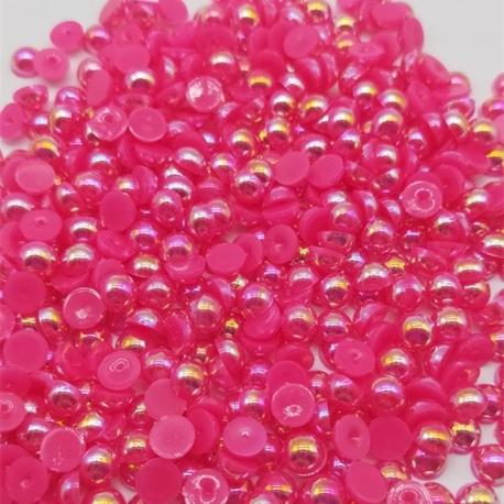 6mm Iridescent Half-pearls - Cerise Pink (100 pack)