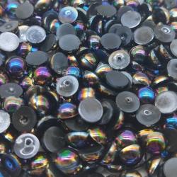 6mm Half-beads - Black (100 pack)