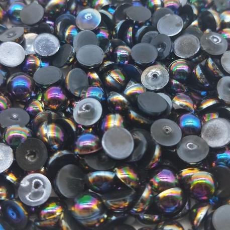6mm Iridescent Half-pearls - Black (100 pack)