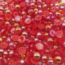 6mm Iridescent Half-beads - Red (100 pack)