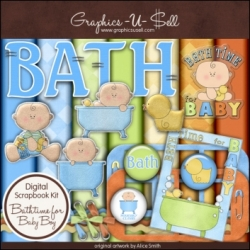 Download - Bathtime for Baby Boy Digital Scrap Kit