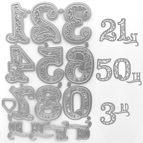 Printable Heaven dies - Large Lace Numbers (14pcs)