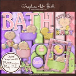 Download - Bathtime for Baby Girl Digital Scrap Kit