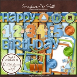 Download - Birthday Years - Boys - Digital Scrap Kit