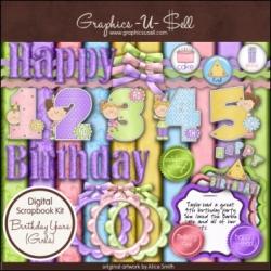 Download - Birthday Years - Girls - Digital Scrap Kit