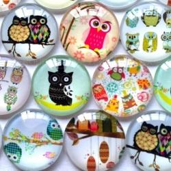 Glass Cabochons - Owls (10pcs)