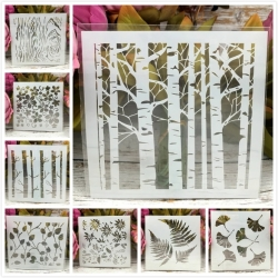 13 x 13cm Reusable Stencil - Natural Assortment (8pcs)
