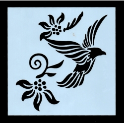 Reusable Stencil - Flying Bird & Flowers (1pc)