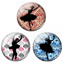 Glass Cabochons - Ballet Dancers (10pcs)