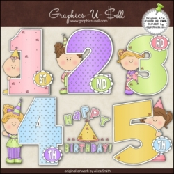 Download - Clip Art - Birthday Years Girls