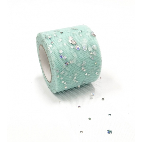 Tulle Ribbon Roll with Sequins - Pale Turquoise (5cm x 22m)
