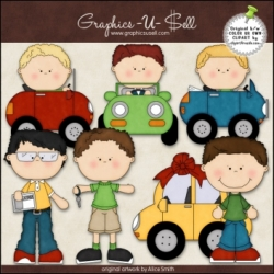 Download - Clip Art - Boys In Cars