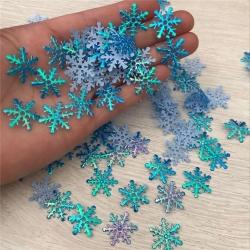 Padded Iridescent Snowflakes Blue (50pcs)