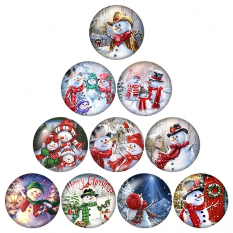 Glass Cabochons - Snowmen (10pcs)