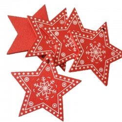 Wooden Folk Christmas Stars, Red (10pcs)