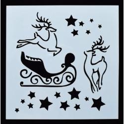 Reusable Stencil - Small Sleigh & Reindeer (1pc)