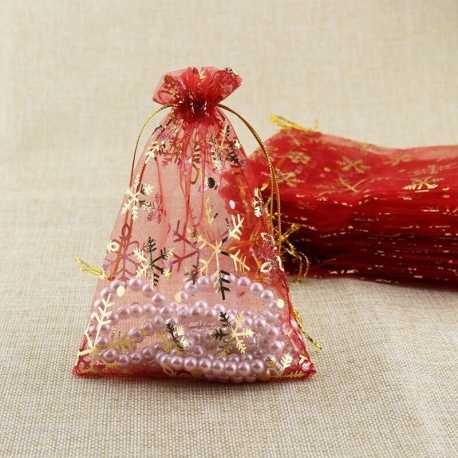 Snowflake Organza Bags, Red (5pcs)