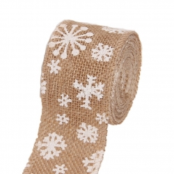 Hessian Ribbon with Snowflakes (100cm x 4cm)
