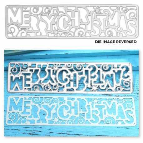 Printable Heaven die - Large Funky Merry Christmas Panel (1pc)